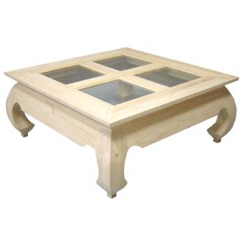 Table basse Opium vitrée Hévéa 4x4 carreaux 80x80x35cm MAORI