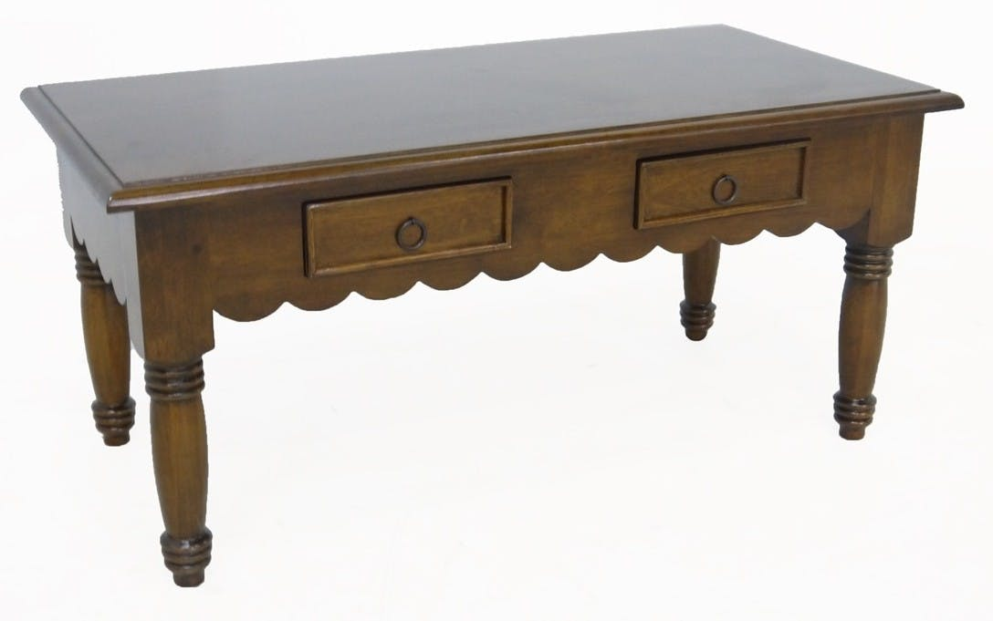 Table basse Dentelle Hévéa 2 tiroirs 100x50x46cm TRADITION