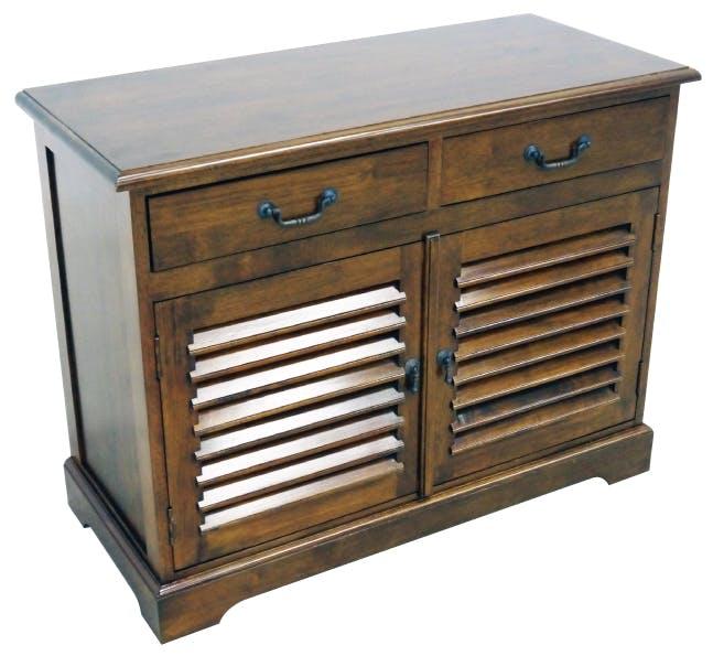 Meuble TV / Buffet Hévéa 2 portes persiennes, 2 tiroirs 100x44x77cm MAORI