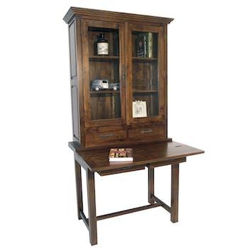 Bibliothèque Bureau Hévéa 2 portes vitrées, 2 tiroirs 95x55x190cm TRADITION