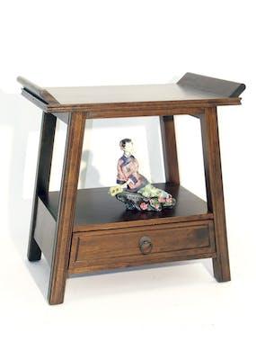 Table de chevet / Bout de canapé Chinois Hévéa 1 tiroir, 1 plateau 60x40x60cm MAORI