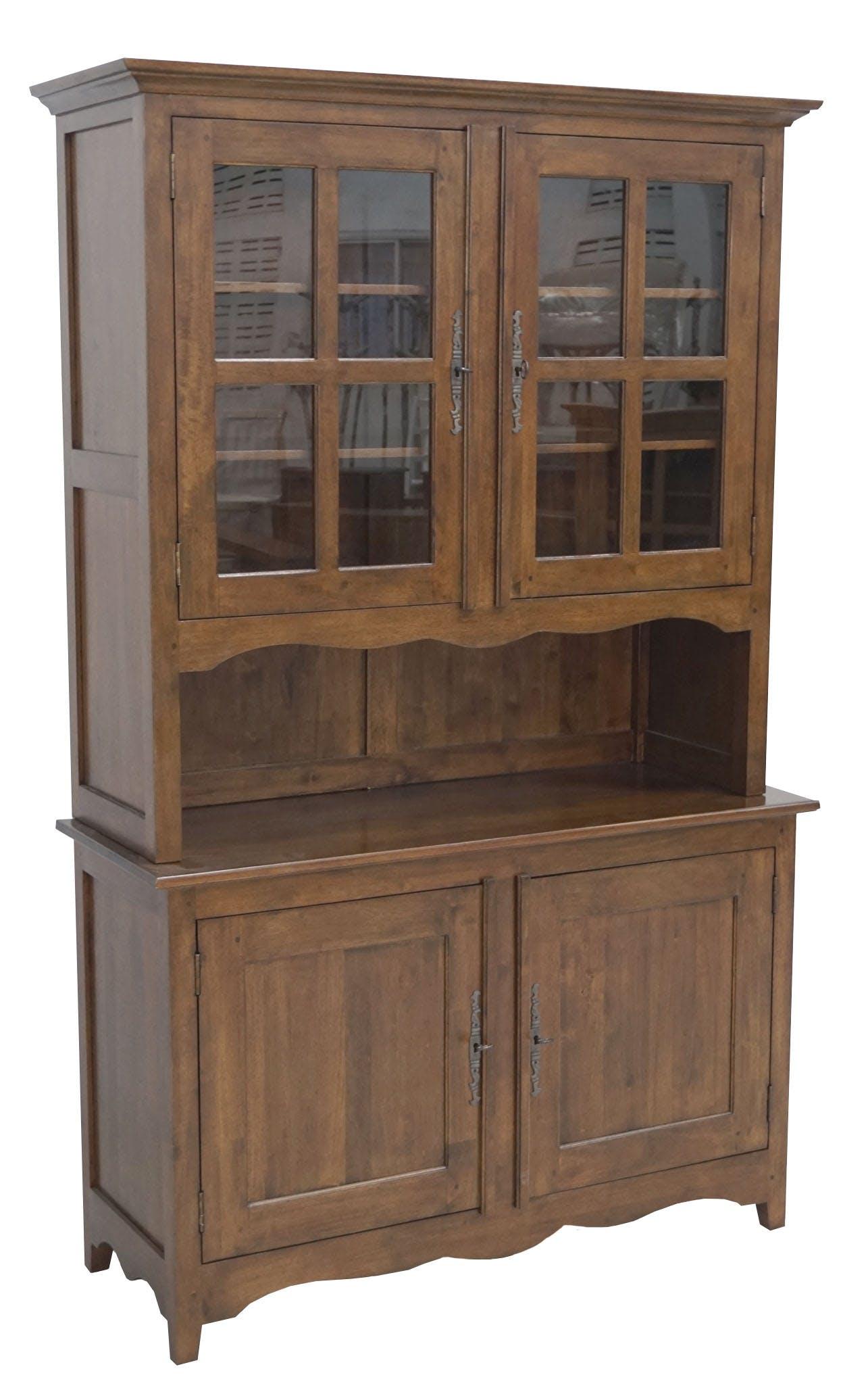 Vaisselier Hévéa 4 portes dont 2 vitrées, 1 grande niche centrale 125x47x200cm TRADITION
