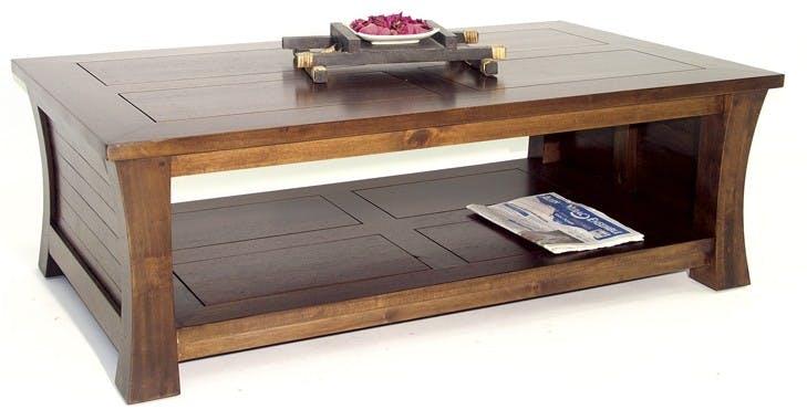 Table basse Hévéa double plateaux 120x70x40cm MAORI