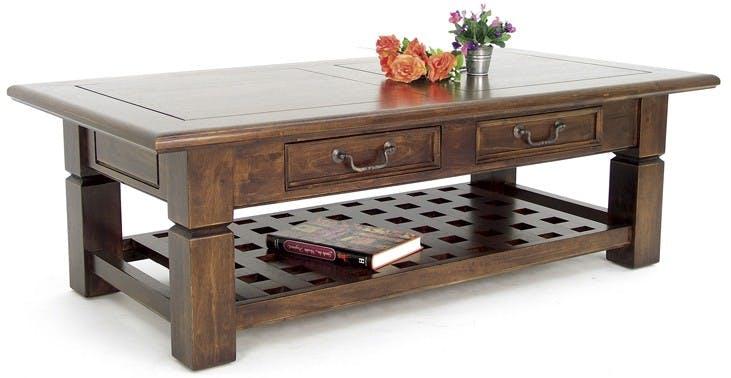 Table basse Hévéa 2 tiroirs, double plateaux dont plateau bas quadrillé 125x65x40cm MAORI