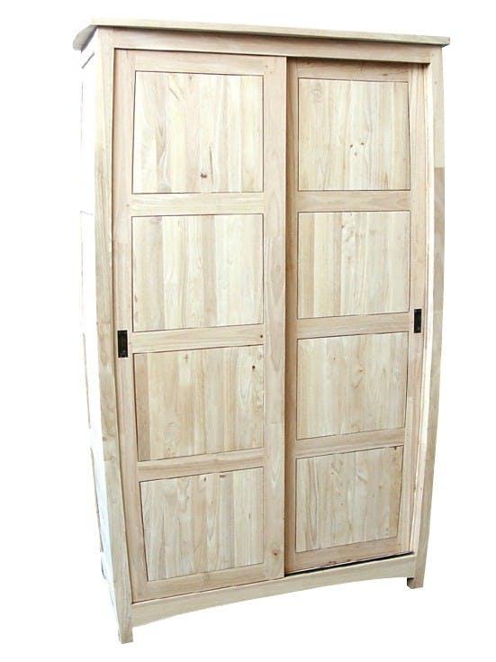 Armoire galbée Hévéa 2 portes coulissantes 120x50x195cm MAORI TRADITION