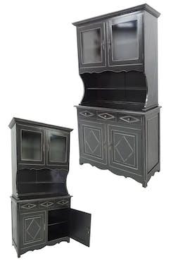 Vaisselier Hévéa 4 portes vitrées, 3 tiroirs, 2 niches centrales 115x48x205cm TRADITION