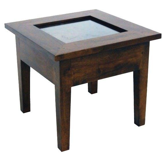 Bout de canapé Hévéa plateau ouvrable vitré et bois 45x45x40cm TRADITION