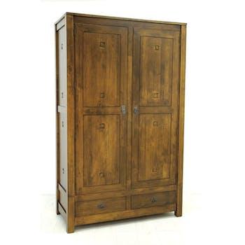 Armoire Hévéa 2 portes, 2 tiroirs 120x56x196cm TESSA