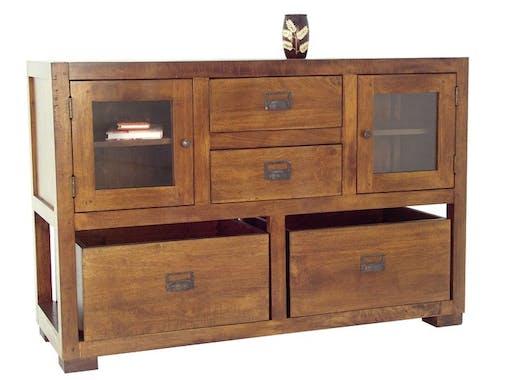 Buffet / Console Hévéa 2 portes vitrées, 2 tiroirs, 2 casiers amovibles 124x42x82cm TRADITION