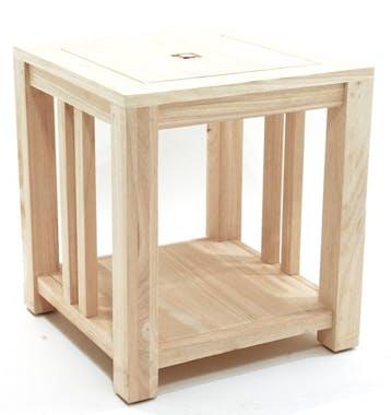 Bout de canapé / Chevet Hévéa double plateaux 50x50x55cm TESSA