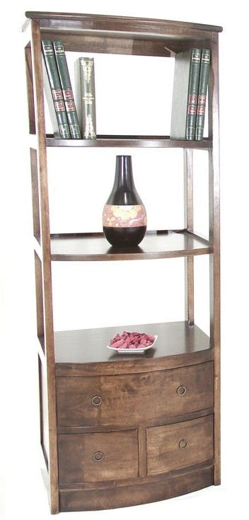 Colonne Etagère Vague Hévéa 3 tiroirs, 3 étagères 60x50x159cm TRADITION