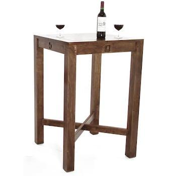 Table de bar carrée Hévéa 70x70x105cm TESSA