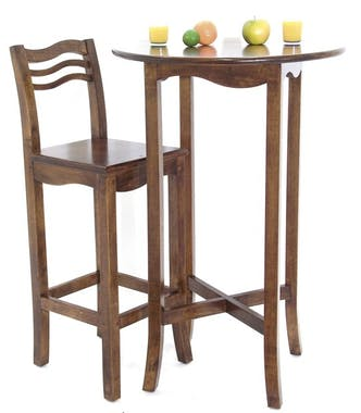 Table de bar Vague ronde Hévéa D70xH105cm TRADITION