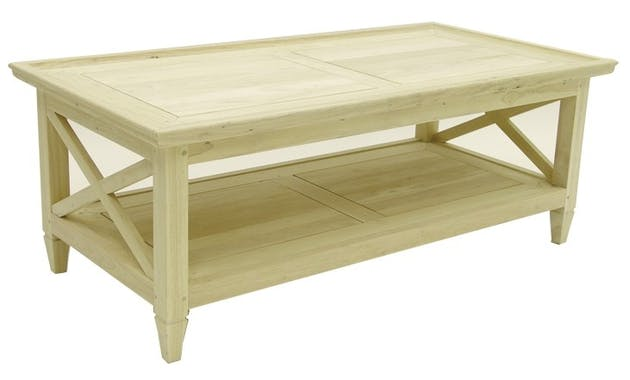 Table basse Hévéa double plateaux 120x60x45cm MAORI TRADITION