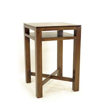 Table de bar Hévéa double plateaux, pieds en croix 70x70x105cm HELENA