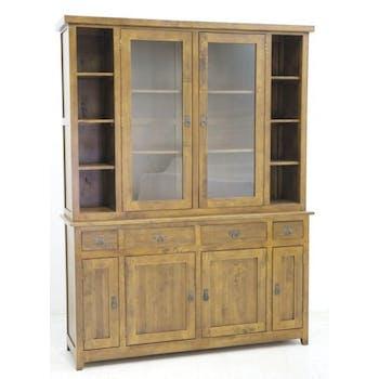Vaisselier Hévéa 6 portes dont 2 vitrées, 4 tiroirs, 8 niches 160x45x210cm TRADITION