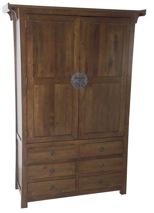 Armoire Hévéa 2 portes, 6 tiroirs 120x45x175cm MAORI