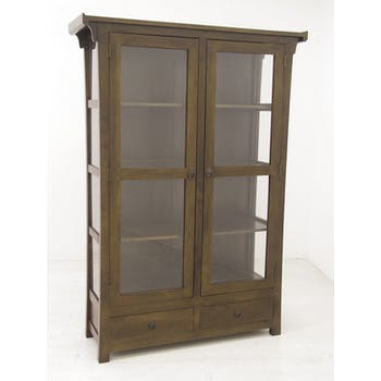 Vitrine Hévéa 2 portes vitrées, 2 tiroirs 120x38x170cm MAORI