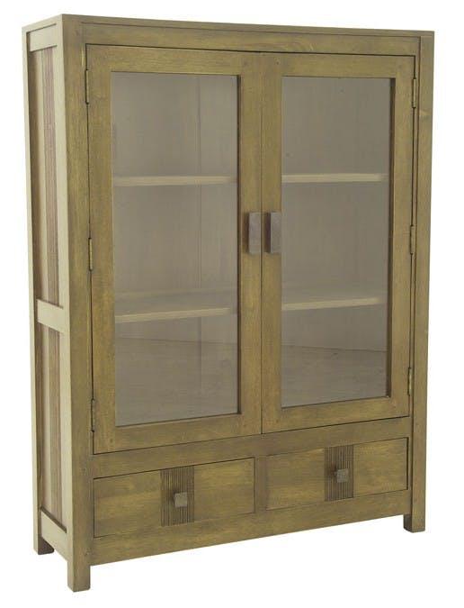 Bibliothèque vitrée bois d'hévéa 2 portes HELENA