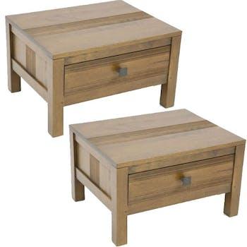 Table de chevet Hévéa 1 tiroir 50x40x30cm GALA