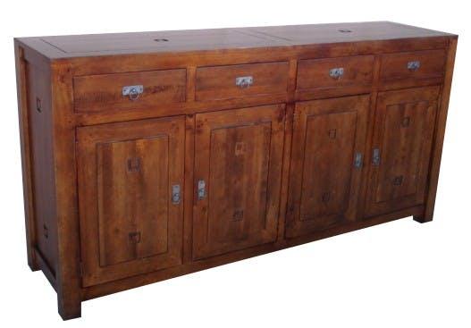 Buffet Enfilade Hévéa 4 portes, 4 tiroirs 200x50x100cm TESSA
