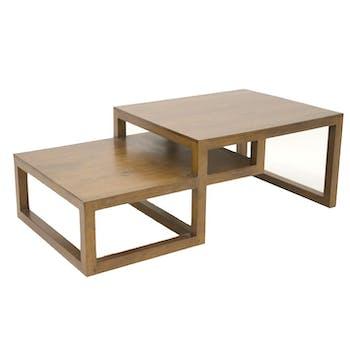 Table basse destructurée Hévéa 130x70x45cm HELENA