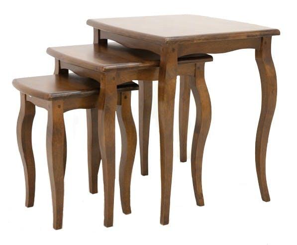 Lot de 3 tables gigognes Hévéa 51x46x56cm TRADITION