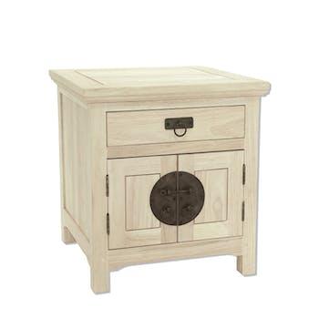 Table de chevet Hévéa 2 portes, 1 tiroir 50x50x54cm MAORI