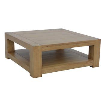 Table basse Hévéa double plateaux 90x90x35cm ATTAN
