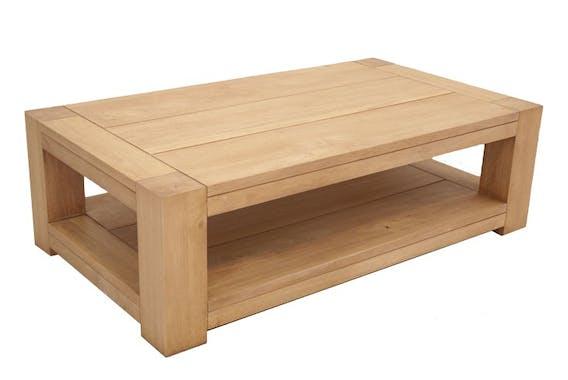 Table basse Hévéa double plateaux 115x65x35cm ATTAN