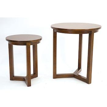 Lot de 2 tables d'appoint rondes Hévéa D50xH55cm SIXTIES