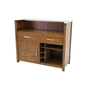 Meuble de Bar Hévéa 1 porte, 2 tiroirs, 4 racks, 2 niches 124x50x105cm ATTAN