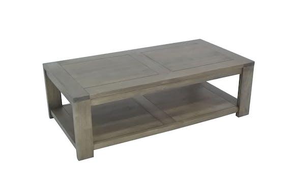 Table basse Hévéa double plateaux 120x60x38cm OLGA