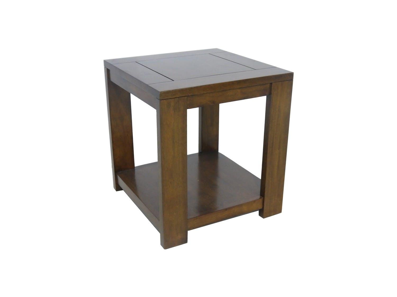 Bout de canapé / Chevet Hévéa double plateaux 50x50x55cm OLGA