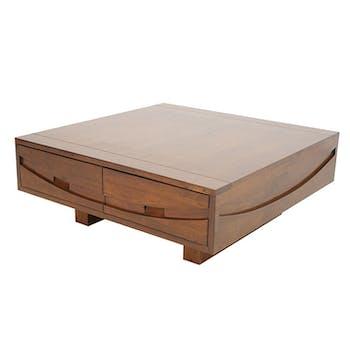 Table basse Hévéa 4 tiroirs 90x90x35cm NIAGARA