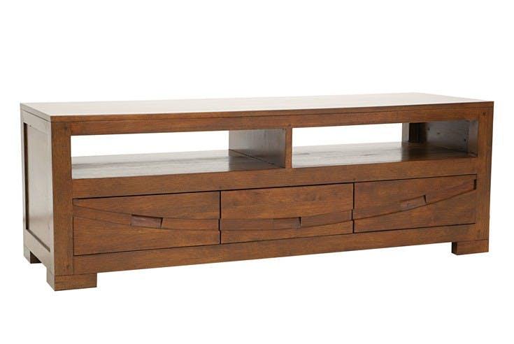 Meuble TV Hévéa 3 tiroirs, 2 niches 130x45x45cm NIAGARA