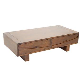 Table basse Hévéa 2 tiroirs 120x60x35cm NIAGARA