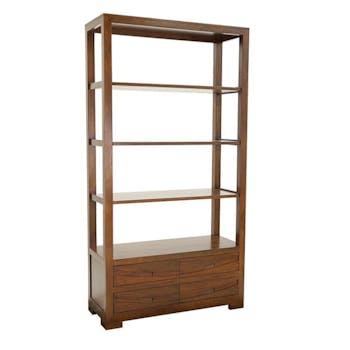 Bibliothèque Hévéa 4 tiroirs, 4 étagères 100x40x190cm NIAGARA
