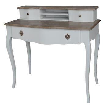 Bureau bicolore patine grisée, shabby romantique, 3 tiroirs CLOTHILDE L100XH95XP50 AMADEUS