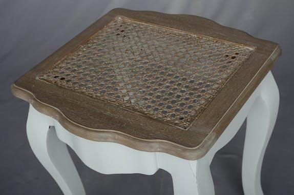 Tabouret Dagobert patine grisée, assise cannée, shabby romantique, CLOTHILDE 40X40XH45 AMADEUS