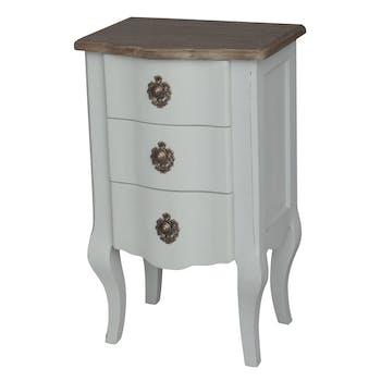 Chevet bicolore patine grisée, shabby romantique, 3 tiroirs CLOTHILDE L40XH65XP30 AMADEUS