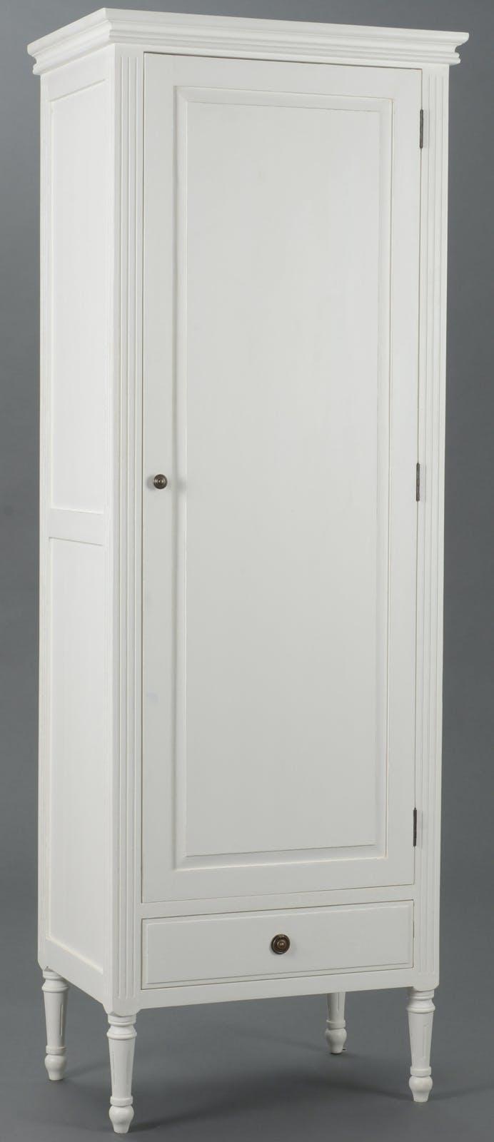 Bonnetière Classique Chic  1 porte, 1 tiroir AGATHE L65 X P45 X H185 Blanc Antique AMADEUS