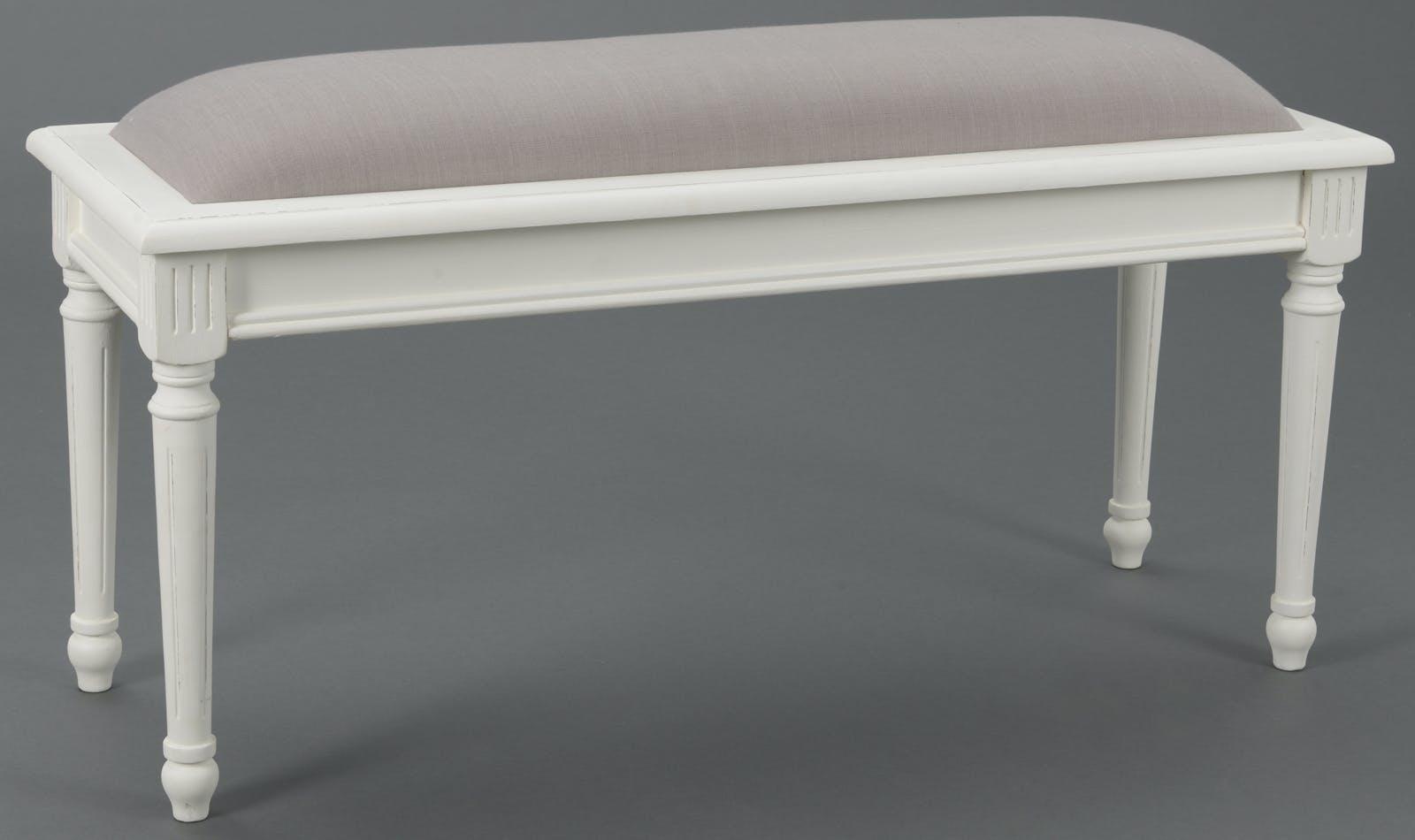 Bout de lit Classique Chic AGATHE Long 100 X Larg 35 X H 45 Blanc Antique AMADEUS