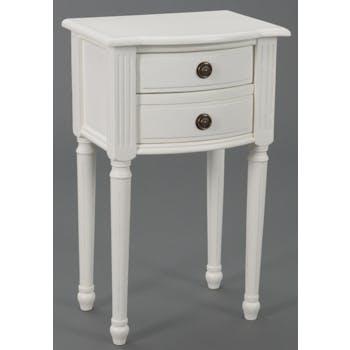 Table de chevet Classique Chic 2 tiroirs AGATHE L 40 X P 30 X H 65 Blanc Antique AMADEUS