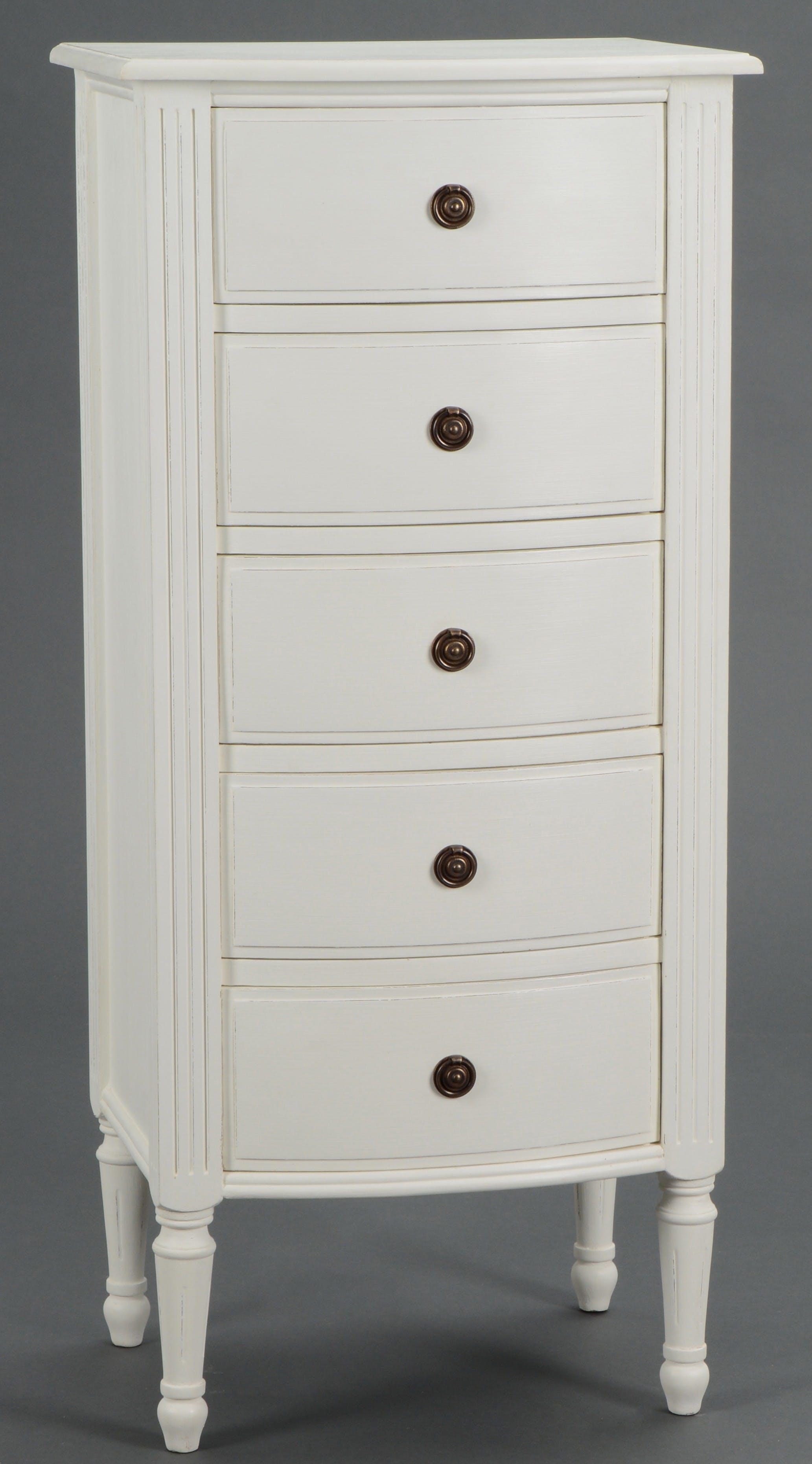 Chiffonnier Classique Chic  5 tiroirs AGATHE L 50 X P 40 X H 110 Blanc Antique AMADEUS
