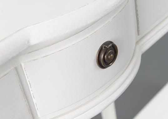 Coiffeuse Classique Chic 4 Tiroirs AGATHE L 50 X P 45 X H 140 Blanc Antique AMADEUS