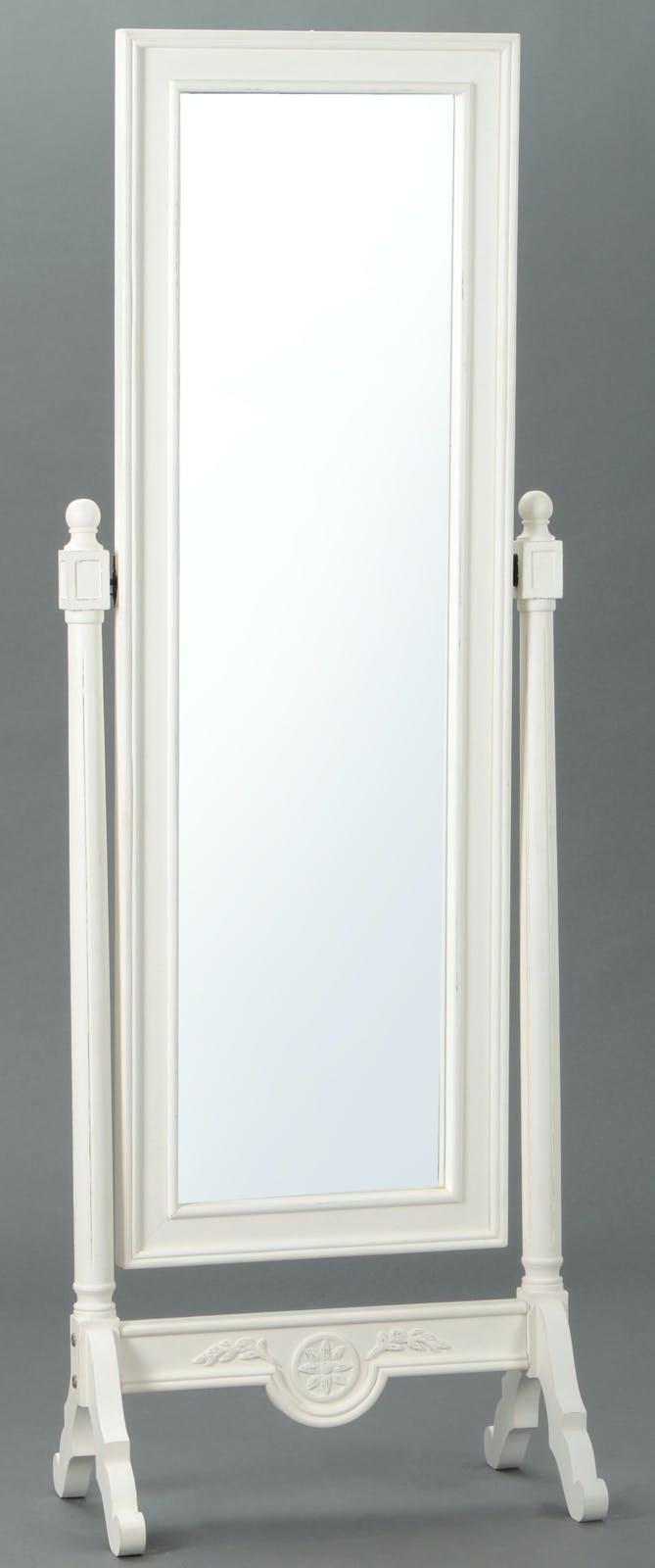 Miroir psyché Classique Chic AGATHE Long 60 X Larg 40 X H 175 Blanc Antique AMADEUS