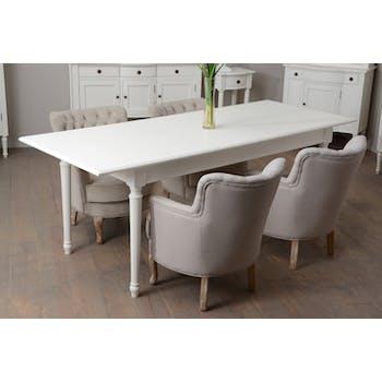 Table à manger Classique AGATHE L 160/200x80xH75cm Blanc Antique AMADEUS