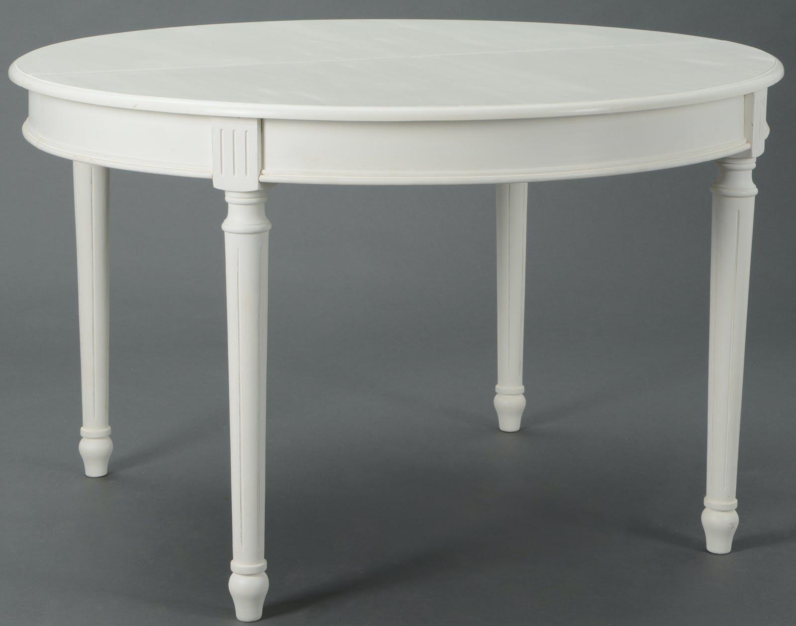 Table à manger Classique Chic AGATHE Long 120/180 X Larg 120 X H75 Blanc Antique AMADEUS