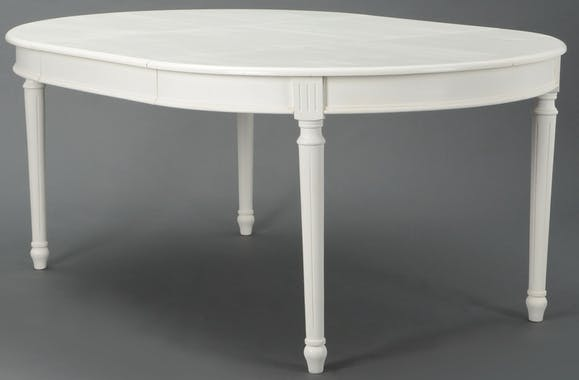 Table à manger Classique Chic AGATHE Long 120/180 X Larg 120 X H75 Blanc Antique AMADEUS